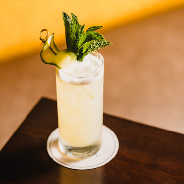 white cocktail garnished with mint and a slice of cucumber on a wooden table